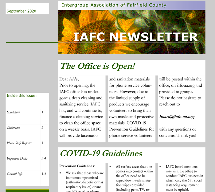 Sept., 2020 Newsletter